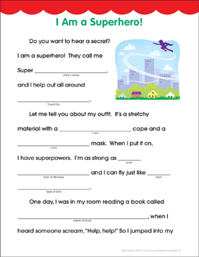 I Am a Superhero! Fill-in Fun Page - Printable Worksheet