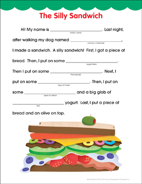 The Silly Sandwich: Fill-in Fun Page - Printable Worksheet