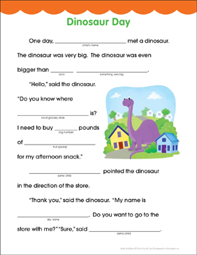 Dinosaur Day: Fill-in Fun Page - Printable Worksheet