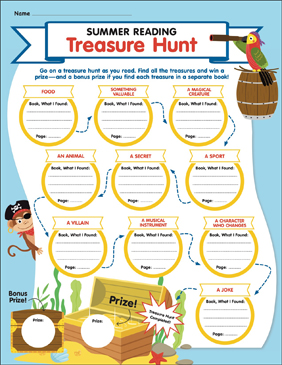 Summer Reading Treasure Hunt - Printable Worksheet