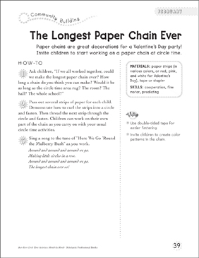 The Longest Paper Chain Ever - Printable Worksheet