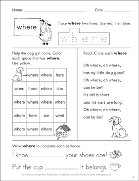 photograph relating to Gone From My Sight Printable Version referred to as Sight Term Prepare Website page for \u201cwhere\u201d Printable Abilities Sheets