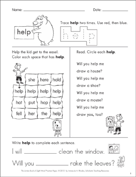"Sight Word Practice Page for ""help"" 