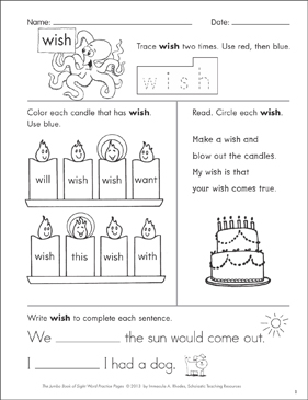 Sight Word Practice Page For Wish