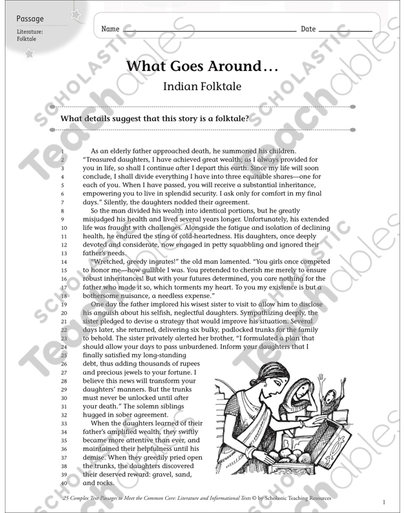 What Goes Around Text Questions Printable Texts And Skills. See Inside. Worksheet. Folktale Worksheets At Clickcart.co