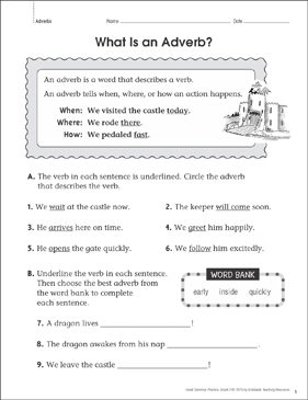 What Is An Adverb Grammar Practice Page Grade 2 Printable Skills Sheets