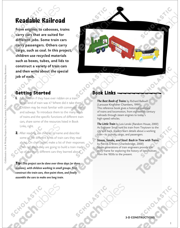 Readable Railroad Art Writing Project Printable Craftivities And