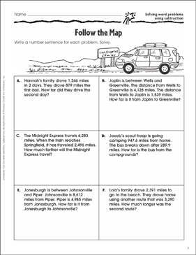 Follow the Map (Solving Word Problems/Subtraction) - Printable Worksheet