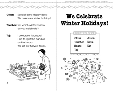 We Celebrate Winter Holidays! A Mini-Book Play - Printable Worksheet