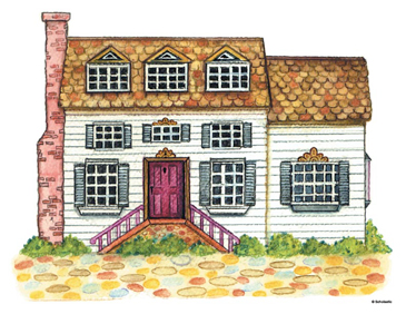 Colonial House - Image Clip Art