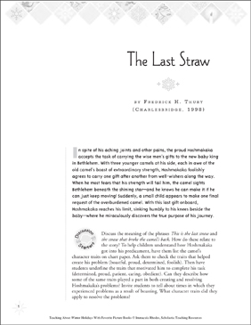 The Last Straw, by Frederick H. Thury: Winter Holiday Picture Book Unit - Printable Worksheet