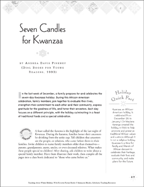 Seven Candles for Kwanzaa, by Andrea Davis Pinkney: Winter Holiday Picture Book Unit - Printable Worksheet