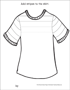 Straight Lines on a Shirt: Pre-Writing Practice Page - Printable Worksheet