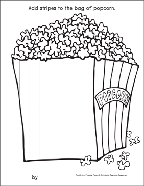 Straight Lines on a Popcorn Bag: Pre-Writing Practice Page - Printable Worksheet