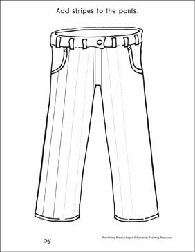 Straight Lines on Pants: Pre-Writing Practice Page - Printable Worksheet