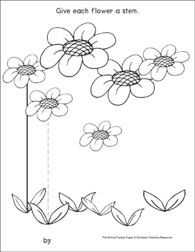 Straight Lines on Flowers: Pre-Writing Practice Page - Printable Worksheet