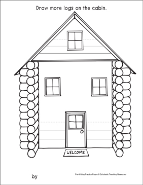 Straight Lines on a Log Cabin: Pre-Writing Practice Page - Printable Worksheet