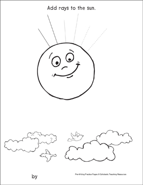 Straight Lines on the Sun: Pre-Writing Practice Page - Printable Worksheet