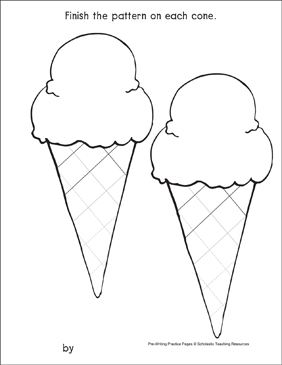 Zigzags on Ice-Cream Cones: Pre-Writing Practice Page - Printable Worksheet