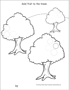 Circles on Fruit Trees: Pre-Writing Practice Page - Printable Worksheet