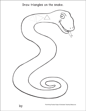 Triangles on a Snake: Pre-Writing Practice Page - Printable Worksheet