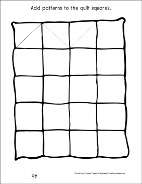 Triangles on a Quilt: Pre-Writing Practice Page - Printable Worksheet