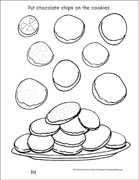 Triangles on Cookies: Pre-Writing Practice Page - Printable Worksheet