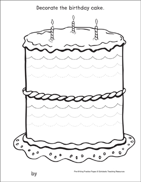 Curves and Spirals on a Birthday Cake: Pre-Writing Practice Page - Printable Worksheet