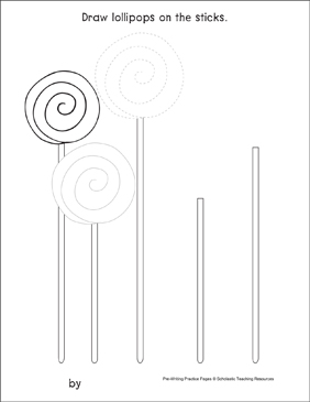 Curves and Spirals on Lollipops: Pre-Writing Practice Page - Printable Worksheet