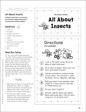 All About Insects (Insects): Life Science Shoe Box Learning Center - Printable Worksheet