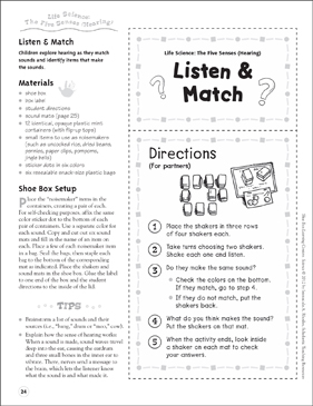 Listen & Match (The Five Senses - Hearing): Life Science Shoe Box Learning Center - Printable Worksheet
