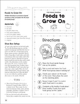Foods to Grow On (Nutrition): Life Science Shoe Box Learning Center - Printable Worksheet