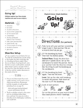 Going Up! (Simple Machines): Science Center - Printable Worksheet