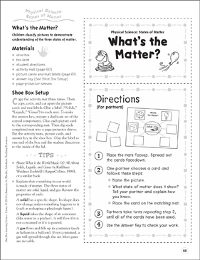 What's the Matter? (States of Matter): Physical Science Shoe Box Learning Center - Printable Worksheet
