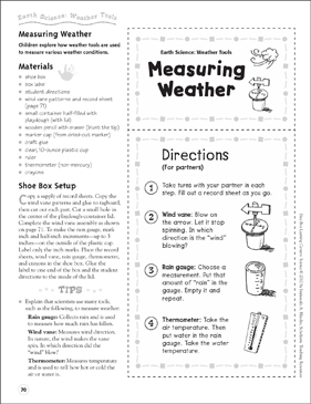 Measuring Weather (Weather Tools): Earth Science Shoe Box Learning Center - Printable Worksheet