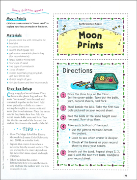 Moon Prints: Space Shoe Box Learning Center - Printable Worksheet