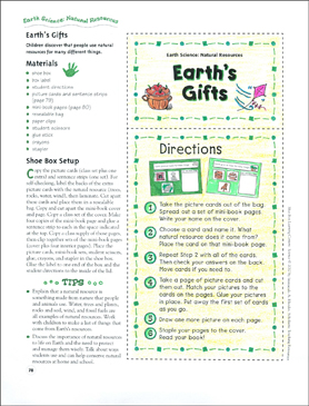 Earth's Gifts (Natural Resources): Earth Science Shoe Box Learning Center - Printable Worksheet