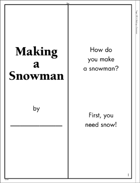 Making a Snowman: Literacy Building Booklet - Printable Worksheet