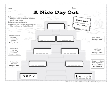 A Nice Day Out: Word-Building Pyramid Puzzle - Printable Worksheet