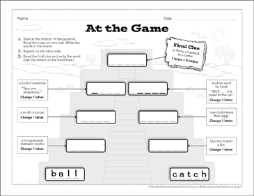 At the Game: Word-Building Pyramid Puzzle - Printable Worksheet