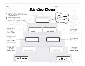 At the Door: Word-Building Pyramid Puzzle - Printable Worksheet
