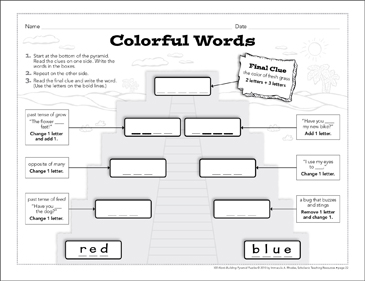 Colorful Words: Word-Building Pyramid Puzzle - Printable Worksheet