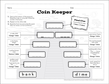 Coin Keeper: Word-Building Pyramid Puzzle - Printable Worksheet