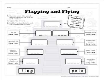Flapping and Flying: Word-Building Pyramid Puzzle - Printable Worksheet