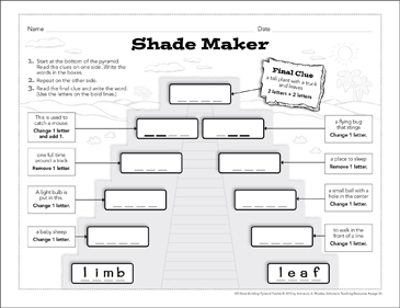 Shade Maker: Word-Building Pyramid Puzzle - Printable Worksheet