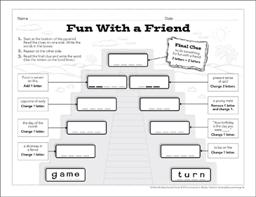 Fun With a Friend: Word-Building Pyramid Puzzle - Printable Worksheet