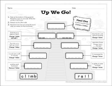 Up We Go!: Word-Building Pyramid Puzzle - Printable Worksheet
