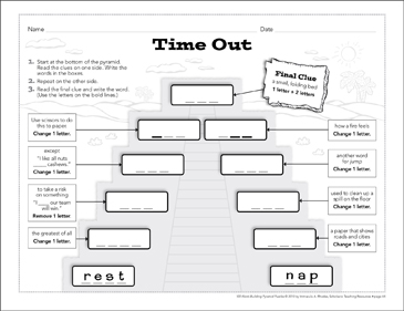 Time Out: Word-Building Pyramid Puzzle - Printable Worksheet