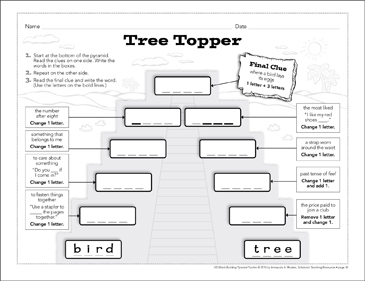 Tree Topper: Word-Building Pyramid Puzzle - Printable Worksheet