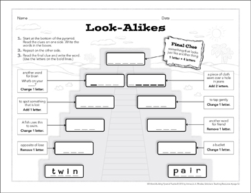 Look-Alikes: Word-Building Pyramid Puzzle - Printable Worksheet